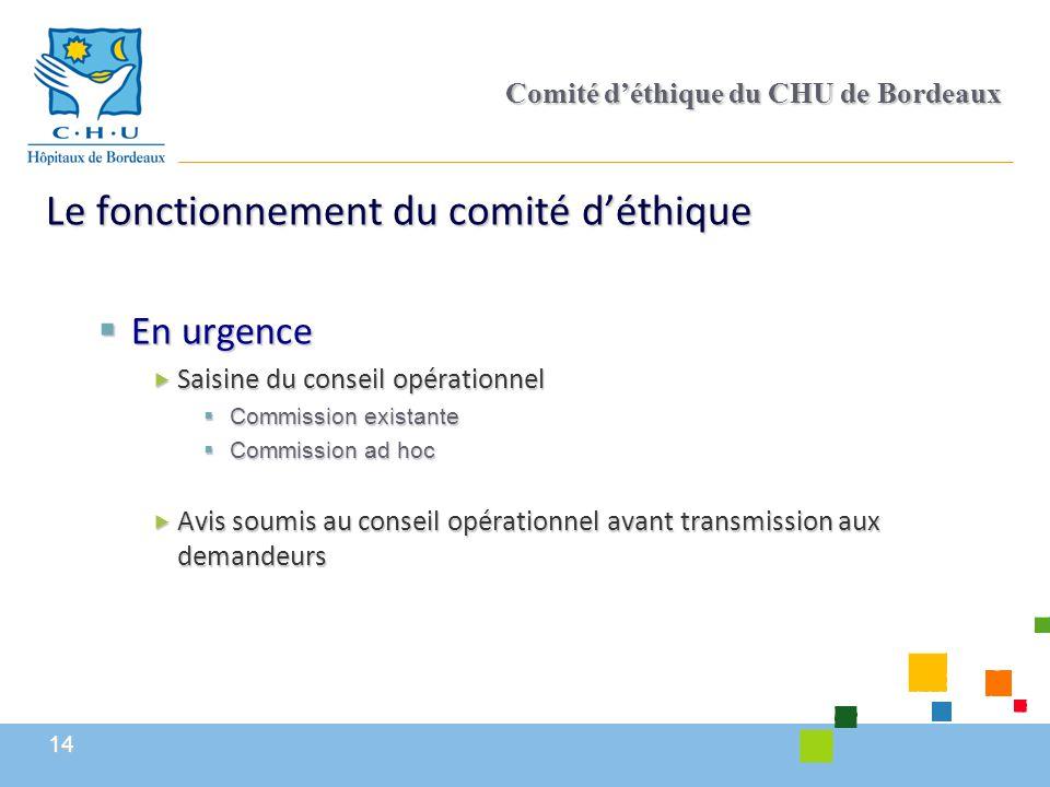 14 Comité d'éthique du CHU de Bordeaux Le fonctionnement du comité d'éthique  En urgence  Saisine du conseil opérationnel  Commission existante  C
