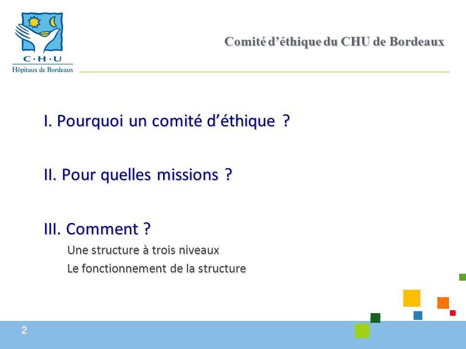 2 Comité d'éthique du CHU de Bordeaux I. Pourquoi un comité d'éthique ? II. Pour quelles missions ? III. Comment ? Une structure à trois niveaux Le fo