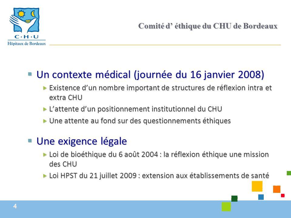 4 Comité d' éthique du CHU de Bordeaux  Un contexte médical (journée du 16 janvier 2008)  Existence d'un nombre important de structures de réflexion