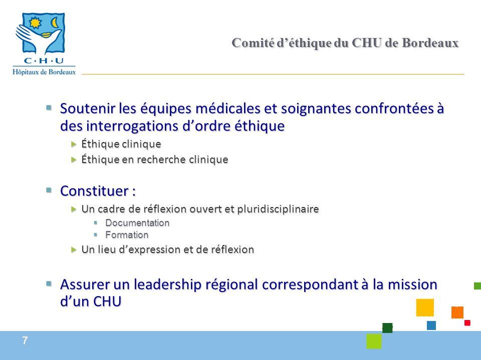 7 Comité d'éthique du CHU de Bordeaux  Soutenir les équipes médicales et soignantes confrontées à des interrogations d'ordre éthique  Éthique cliniq