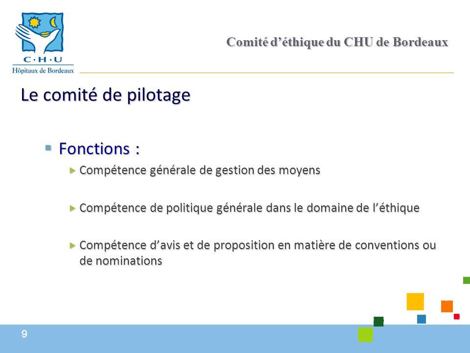 10 Comité d'éthique du CHU de Bordeaux  Composition :  Président : Directeur général  Vice-présidents :  Président de l'Université  Président de la CME  Membres  Un représentant de la CME  Directeur en charge de la recherche clinique  Directeur en charge de l'éthique  Invités non délibératifs en fonction des questions posées