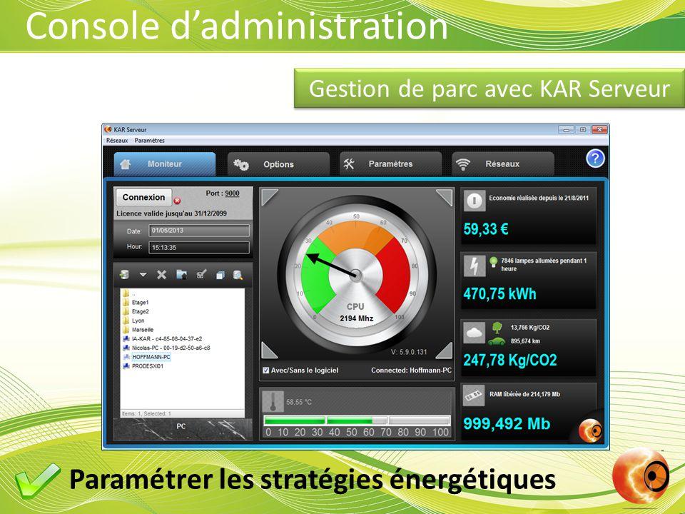 Console d'administration Gestion de parc avec KAR Serveur Paramétrer les stratégies énergétiques