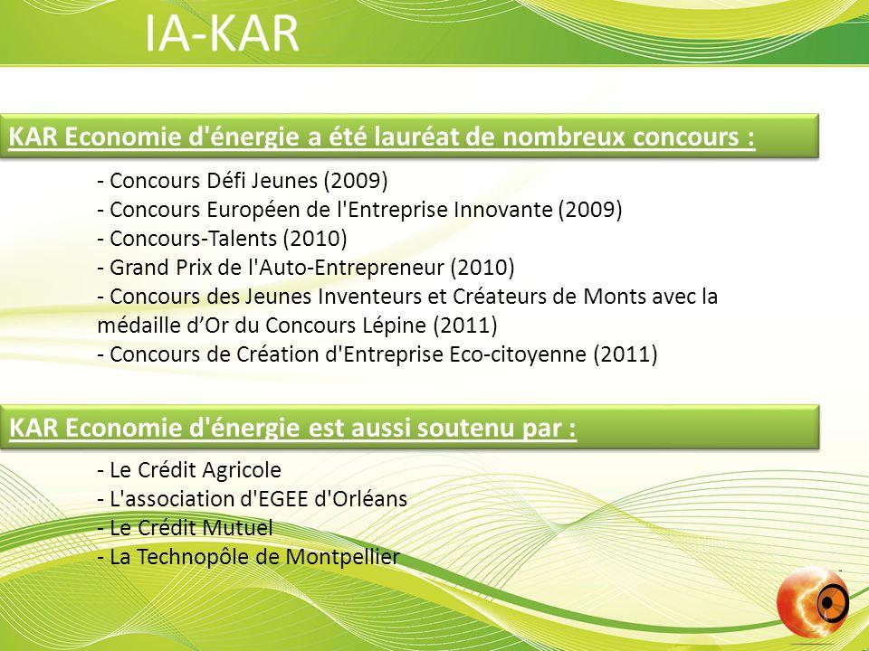 KAR Economie d énergie a été lauréat de nombreux concours : - Concours Défi Jeunes (2009) - Concours Européen de l Entreprise Innovante (2009) - Concours-Talents (2010) - Grand Prix de l Auto-Entrepreneur (2010) - Concours des Jeunes Inventeurs et Créateurs de Monts avec la médaille d'Or du Concours Lépine (2011) - Concours de Création d Entreprise Eco-citoyenne (2011) - Le Crédit Agricole - L association d EGEE d Orléans - Le Crédit Mutuel - La Technopôle de Montpellier KAR Economie d énergie est aussi soutenu par : IA-KAR