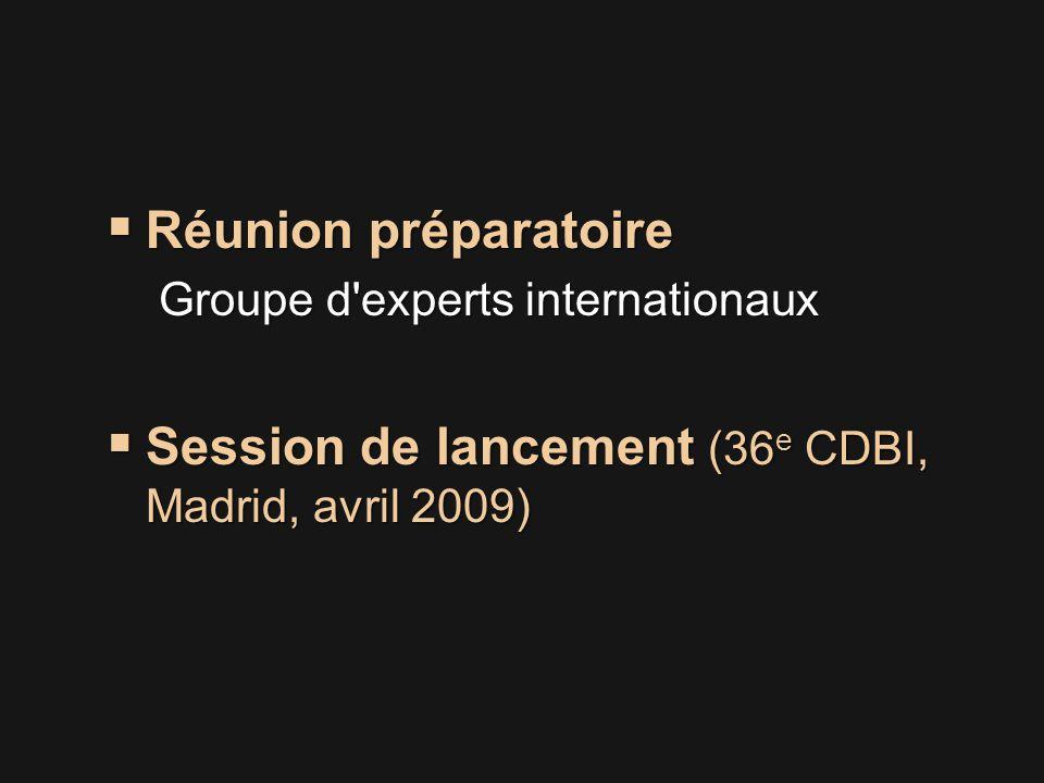  Réunion préparatoire Groupe d experts internationaux  Session de lancement (36 e CDBI, Madrid, avril 2009)
