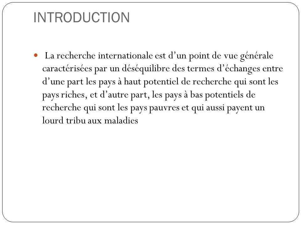 INTRODUCTION La recherche internationale est d'un point de vue générale caractérisées par un déséquilibre des termes d'échanges entre d'une part les p