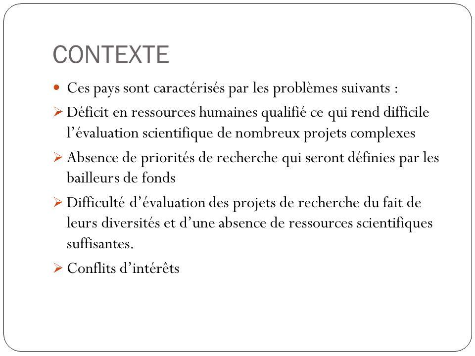 CONTEXTE Ces pays sont caractérisés par les problèmes suivants :  Déficit en ressources humaines qualifié ce qui rend difficile l'évaluation scientif