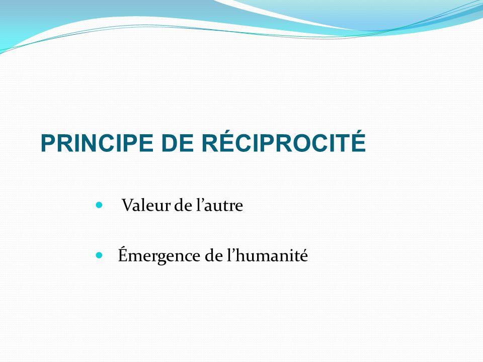 PRINCIPE DE RÉCIPROCITÉ Valeur de l'autre Émergence de l'humanité
