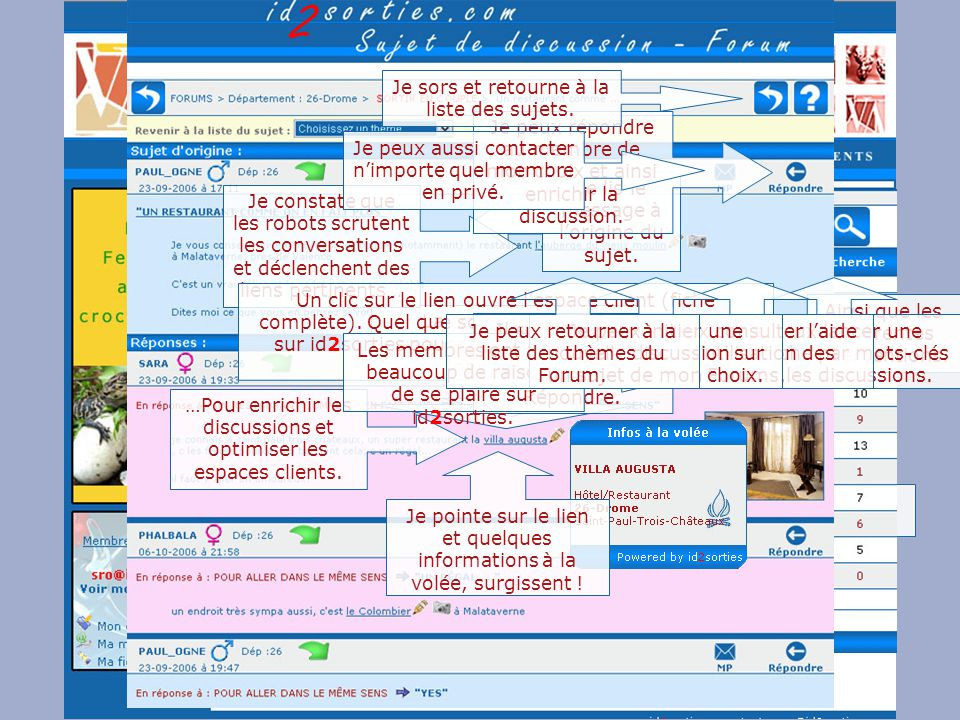 Id 2 sorties http://www.id2sorties.comhttp://www.id2sorties.comid2sorties sur le Web, 1fo@id2sorties.comContact technique, sro@id2sorties.comContact commercial 1fo@id2sorties.com sro@id2sorties.com Retrouver toutes les démonstrations du site à l'aide de ces liens : J'effectue une recherche par département et activitéJ'effectue une recherche par département et activité, J'effectue une recherche personnalisée, Je me laisse tenter par les suggestions dans ma région, Je gère mon compte et mon espace client, Mes outils, moi membre du site, Mes communications événementielles, mes NewsLetters, Mes articles, ma communication.