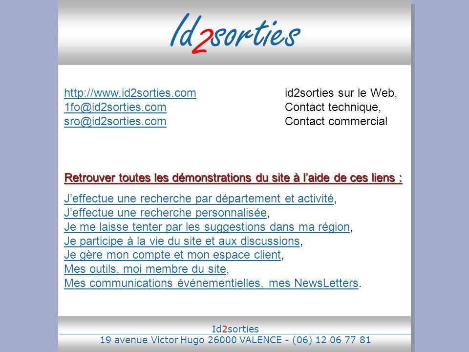 Id 2 sorties http://www.id2sorties.comhttp://www.id2sorties.comid2sorties sur le Web, 1fo@id2sorties.comContact technique, sro@id2sorties.comContact c