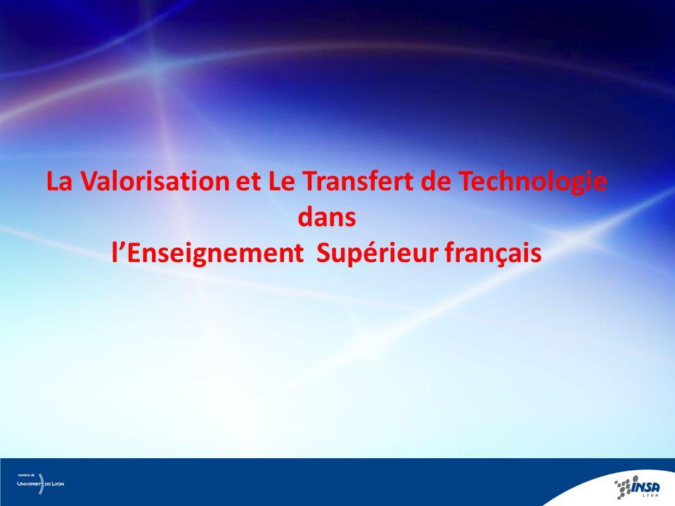 La Valorisation et Le Transfert de Technologie dans l'Enseignement Supérieur français
