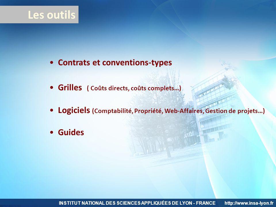 INSTITUT NATIONAL DES SCIENCES APPLIQUÉES DE LYON - FRANCEhttp://www.insa-lyon.fr Les outils Contrats et conventions-types Grilles ( Coûts directs, co