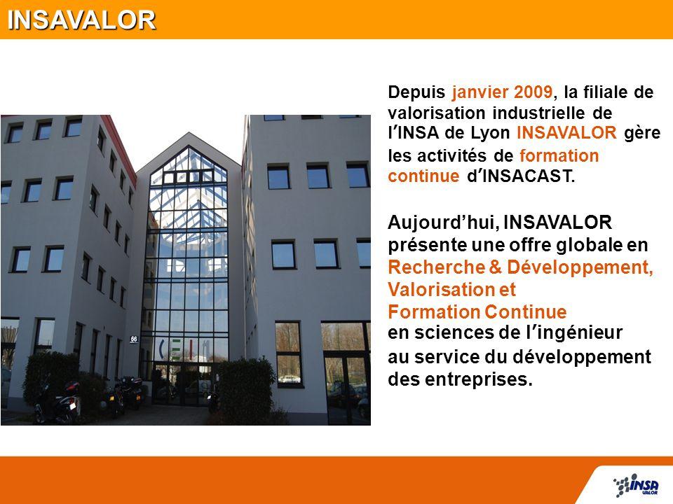 Depuis janvier 2009, la filiale de valorisation industrielle de l'INSA de Lyon INSAVALOR gère les activités de formation continue d'INSACAST. Aujourd'