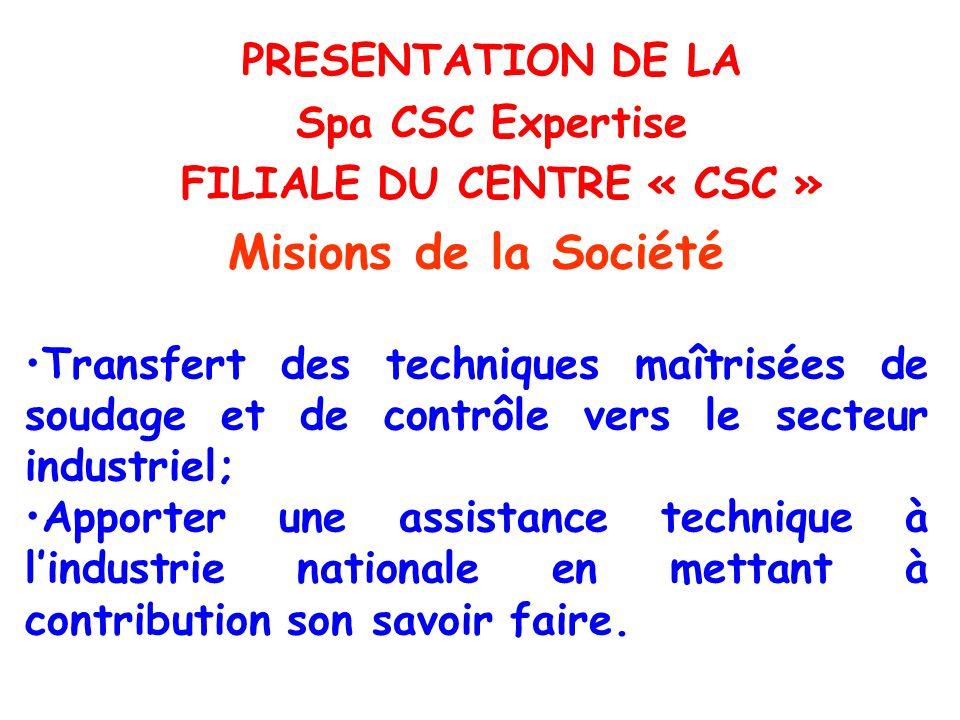 ORGANIGRAMME DE C.S.C Expertise Spa Direction CSC Exp.