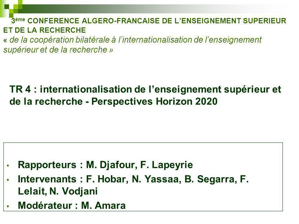 3 ème CONFERENCE ALGERO-FRANCAISE DE L'ENSEIGNEMENT SUPERIEUR ET DE LA RECHERCHE « de la coopération bilatérale à l'internationalisation de l'enseignement supérieur et de la recherche » TR 4 : internationalisation de l'enseignement supérieur et de la recherche - Perspectives Horizon 2020 Rapporteurs : M.