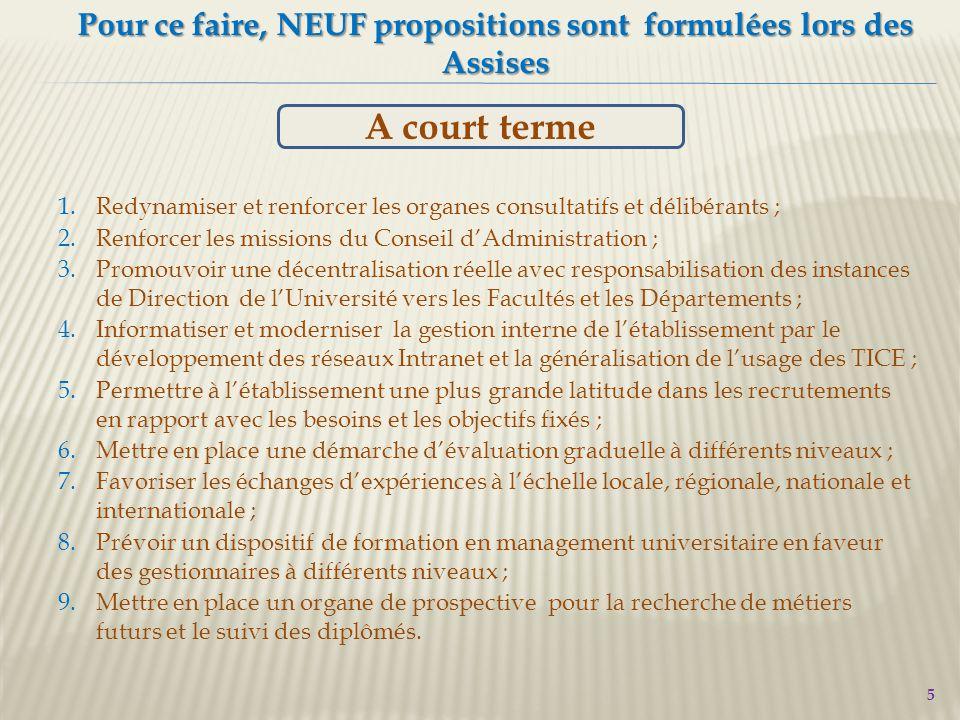 6 Les NEUF propositions des Assises 1.Evaluation2.