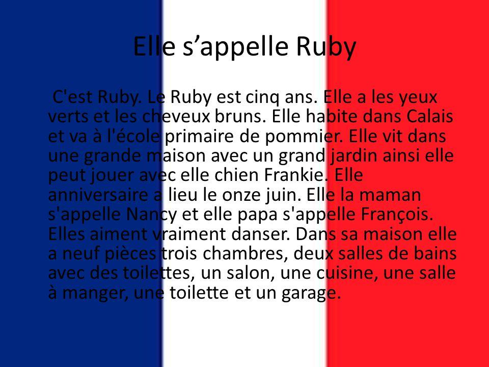 Elle s'appelle Ruby C'est Ruby. Le Ruby est cinq ans. Elle a les yeux verts et les cheveux bruns. Elle habite dans Calais et va à l'école primaire de