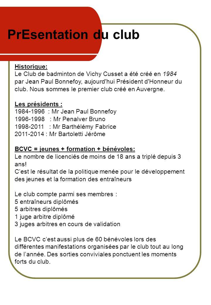 PrEsentation du club Historique: Le Club de badminton de Vichy Cusset a été créé en 1984 par Jean Paul Bonnefoy, aujourd'hui Président d'Honneur du cl