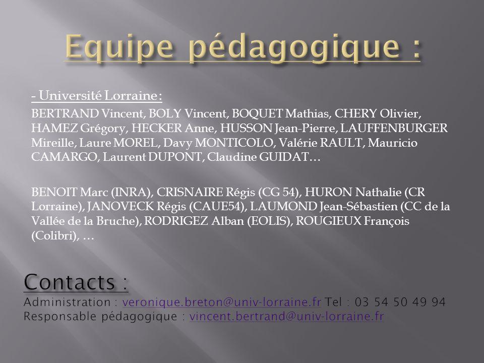 - Université Lorraine : BERTRAND Vincent, BOLY Vincent, BOQUET Mathias, CHERY Olivier, HAMEZ Grégory, HECKER Anne, HUSSON Jean-Pierre, LAUFFENBURGER M