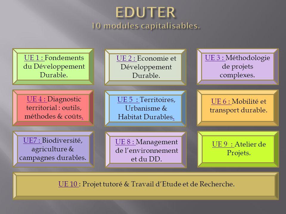 UE 1 : UE 1 : Fondements du Développement Durable. UE 2 : UE 2 : Economie et Développement Durable. UE 3 : UE 3 : Méthodologie de projets complexes. U
