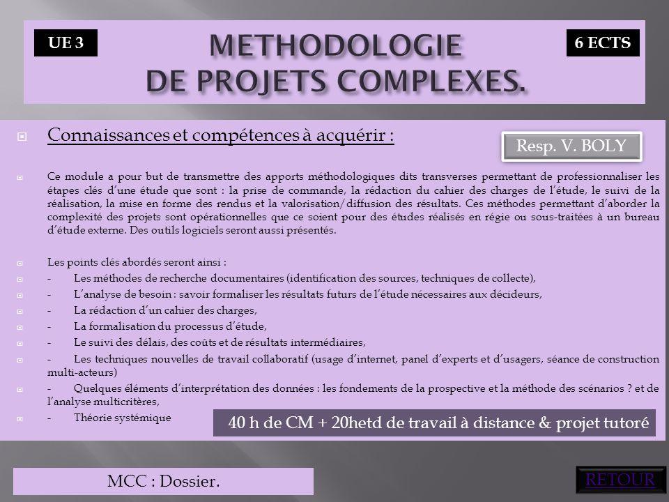 Connaissances et compétences à acquérir :  Ce module a pour but de transmettre des apports méthodologiques dits transverses permettant de professio
