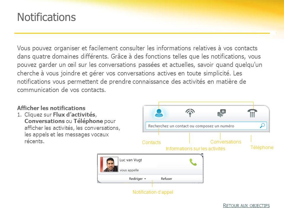 Notifications Vous pouvez organiser et facilement consulter les informations relatives à vos contacts dans quatre domaines différents.
