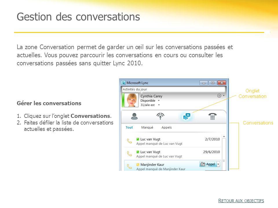 Gestion des conversations La zone Conversation permet de garder un œil sur les conversations passées et actuelles.