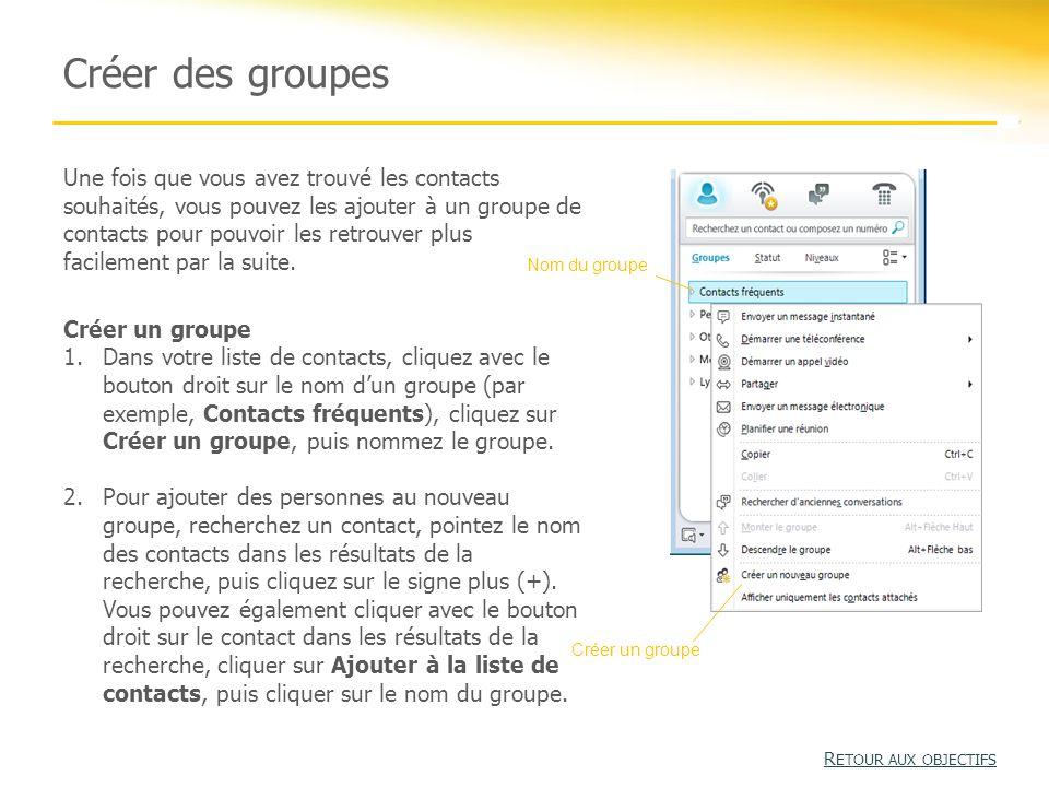 Activité 2 : Rechercher un contact et démarrer une session de messagerie instantanée R ETOUR AUX OBJECTIFS R ETOUR AUX OBJECTIFS 1.Tapez le nom d'une personne dans la zone de recherche.