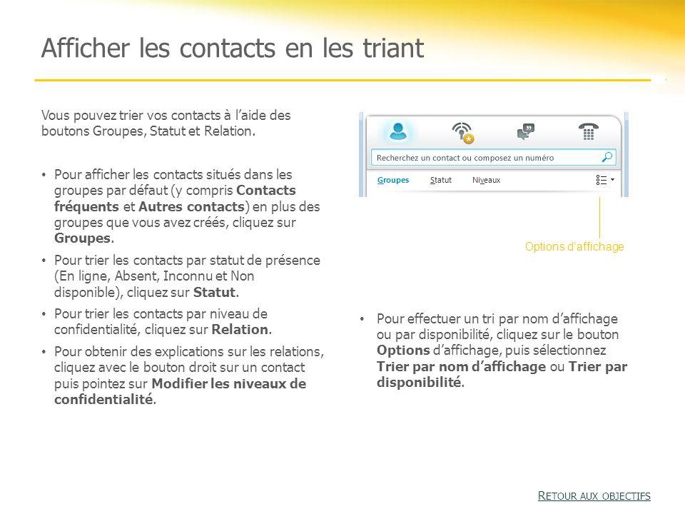 Afficher les contacts en les triant Vous pouvez trier vos contacts à l'aide des boutons Groupes, Statut et Relation.