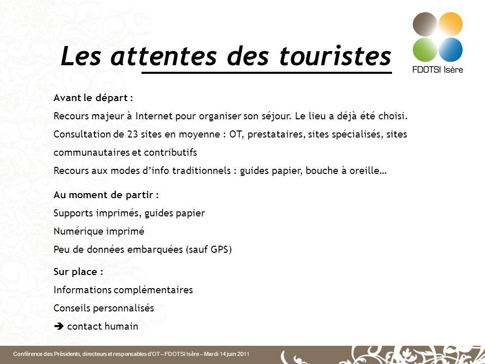Conférence des Présidents, directeurs et responsables d'OT – FDOTSI Isère – Mardi 14 juin 2011 Les attentes des touristes Avant le départ : Recours majeur à Internet pour organiser son séjour.