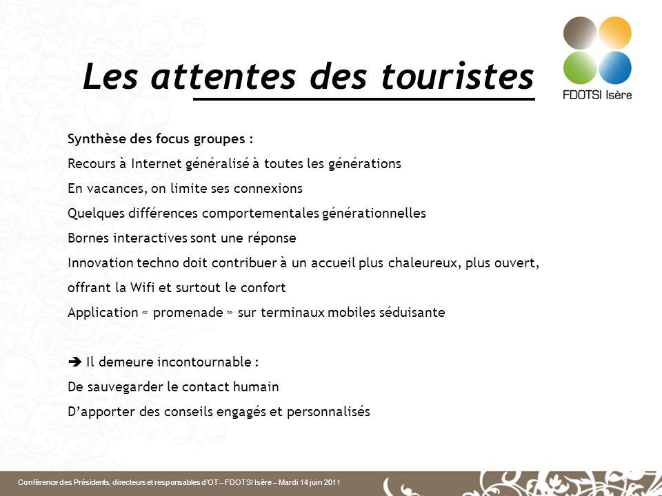 Conférence des Présidents, directeurs et responsables d'OT – FDOTSI Isère – Mardi 14 juin 2011 L'OT à l'ère du numérique 81% des Français qui partent en vacances sont des internautes Enjeux du numérique : les TIC sont une réponse à des besoins.