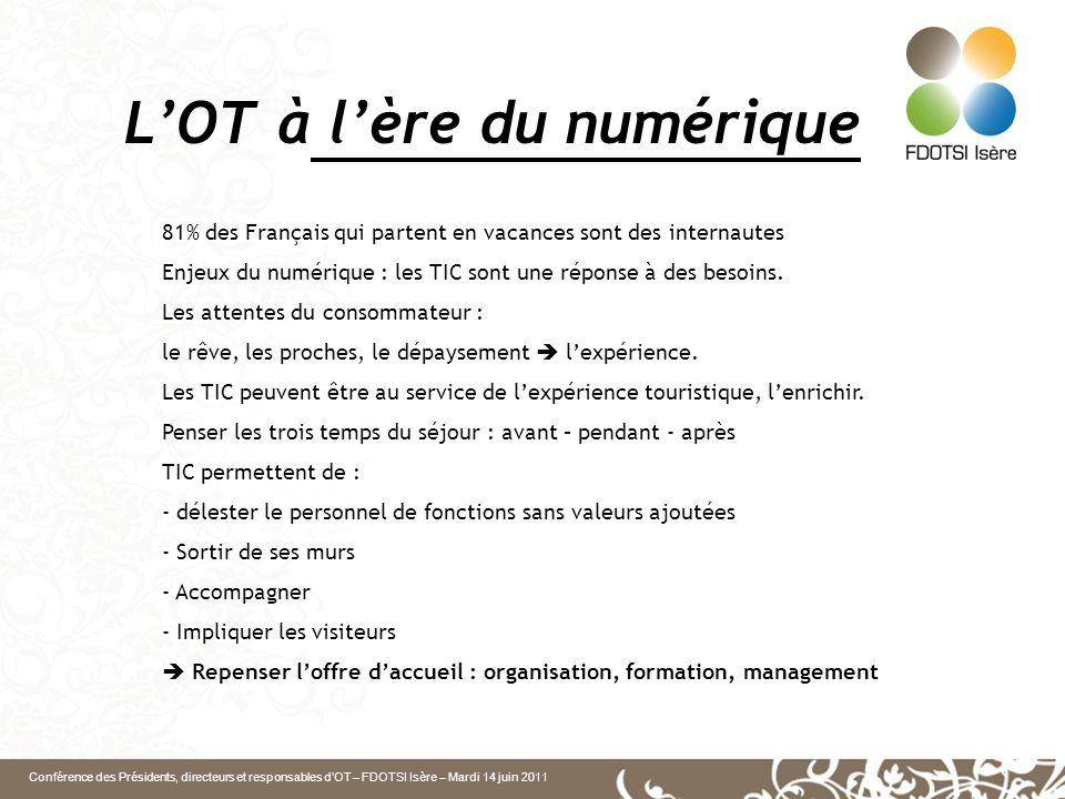 Conférence des Présidents, directeurs et responsables d'OT – FDOTSI Isère – Mardi 14 juin 2011 L'OT à l'ère du numérique