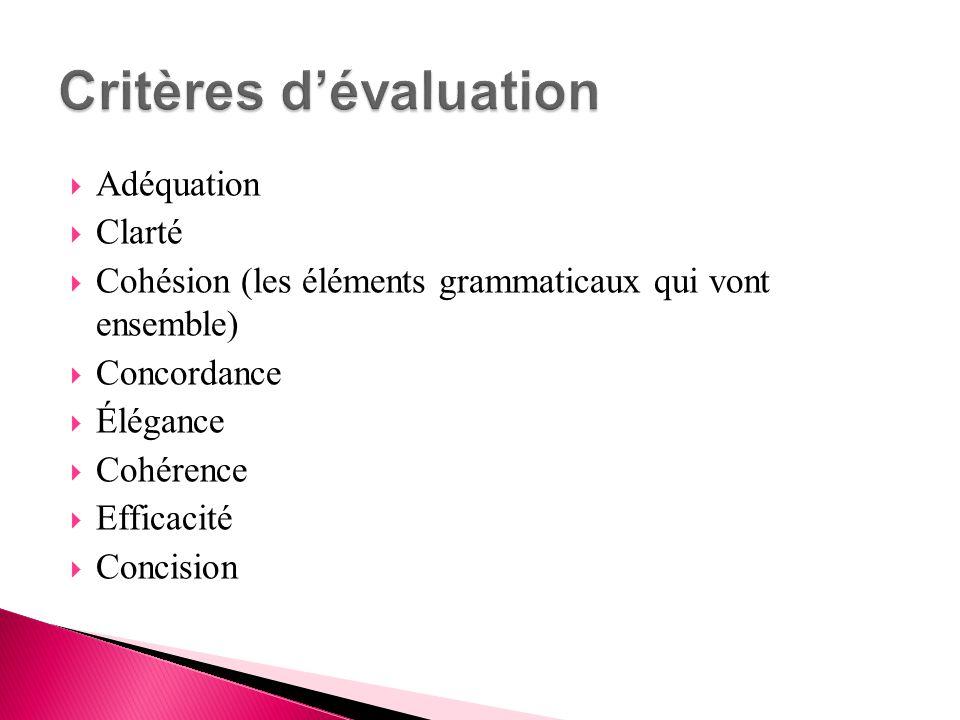  Adéquation  Clarté  Cohésion (les éléments grammaticaux qui vont ensemble)  Concordance  Élégance  Cohérence  Efficacité  Concision