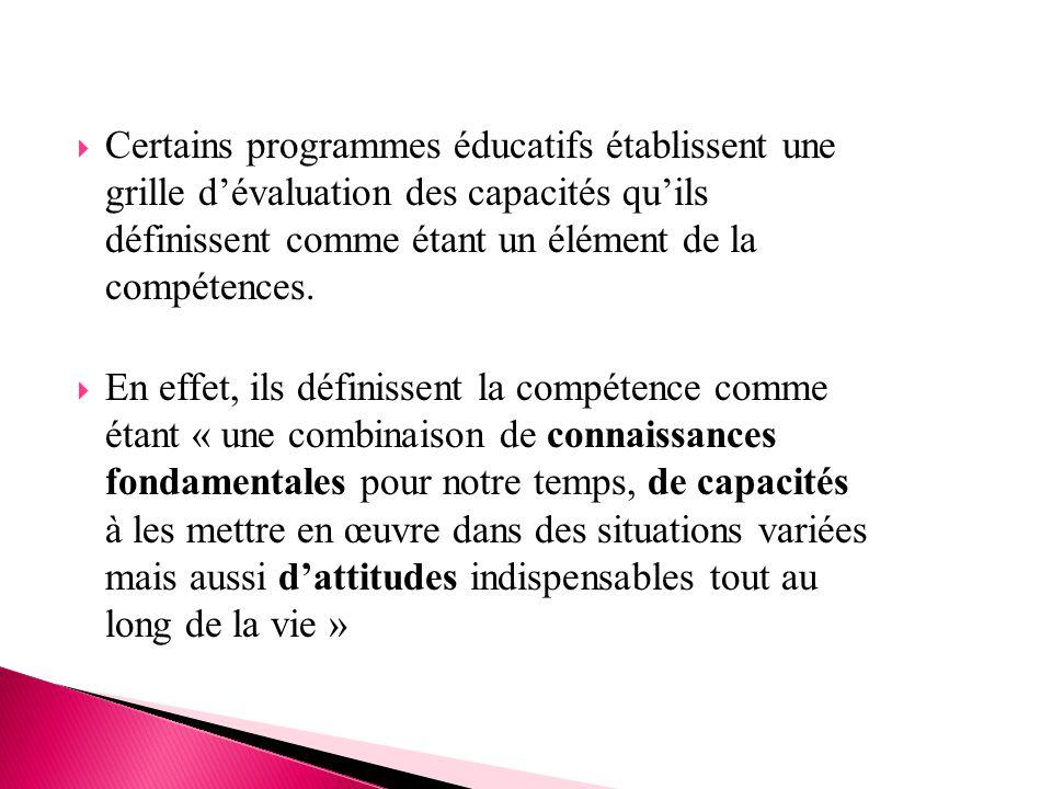  Certains programmes éducatifs établissent une grille d'évaluation des capacités qu'ils définissent comme étant un élément de la compétences.  En ef