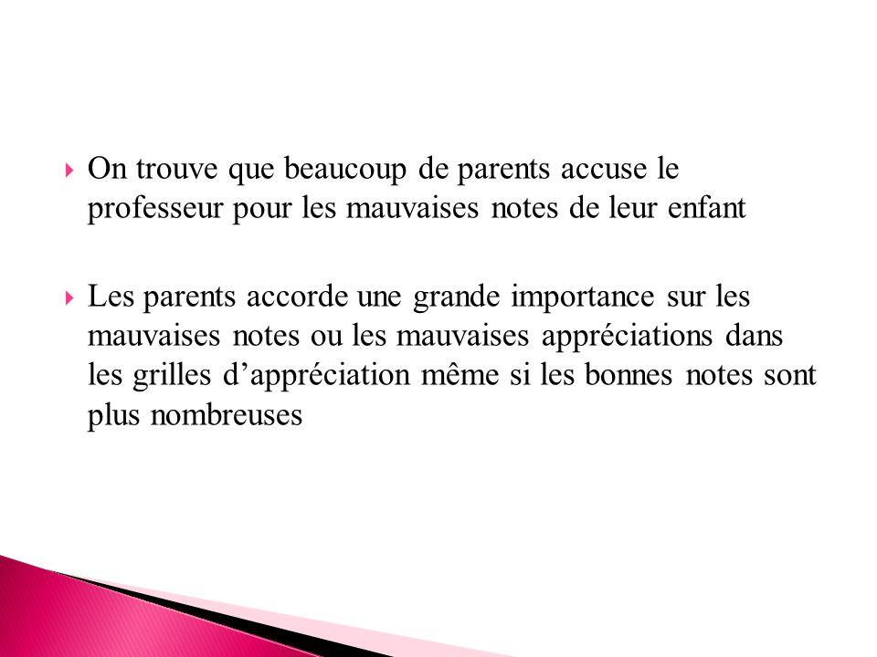  On trouve que beaucoup de parents accuse le professeur pour les mauvaises notes de leur enfant  Les parents accorde une grande importance sur les m