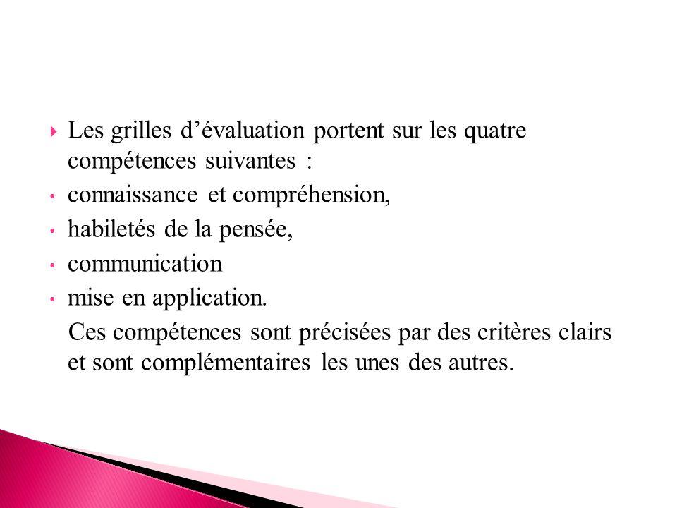  Les grilles d'évaluation portent sur les quatre compétences suivantes : connaissance et compréhension, habiletés de la pensée, communication mise en