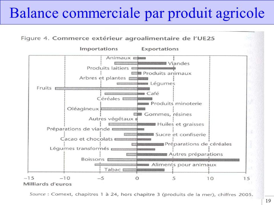 19 Balance commerciale par produit agricole