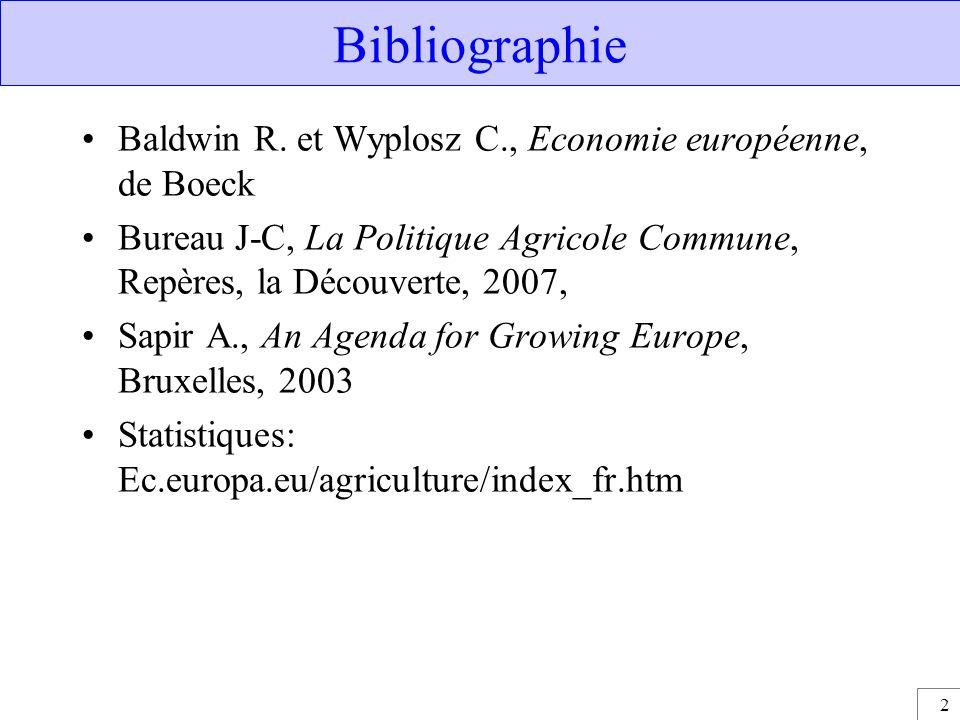 2 Bibliographie Baldwin R. et Wyplosz C., Economie européenne, de Boeck Bureau J-C, La Politique Agricole Commune, Repères, la Découverte, 2007, Sapir