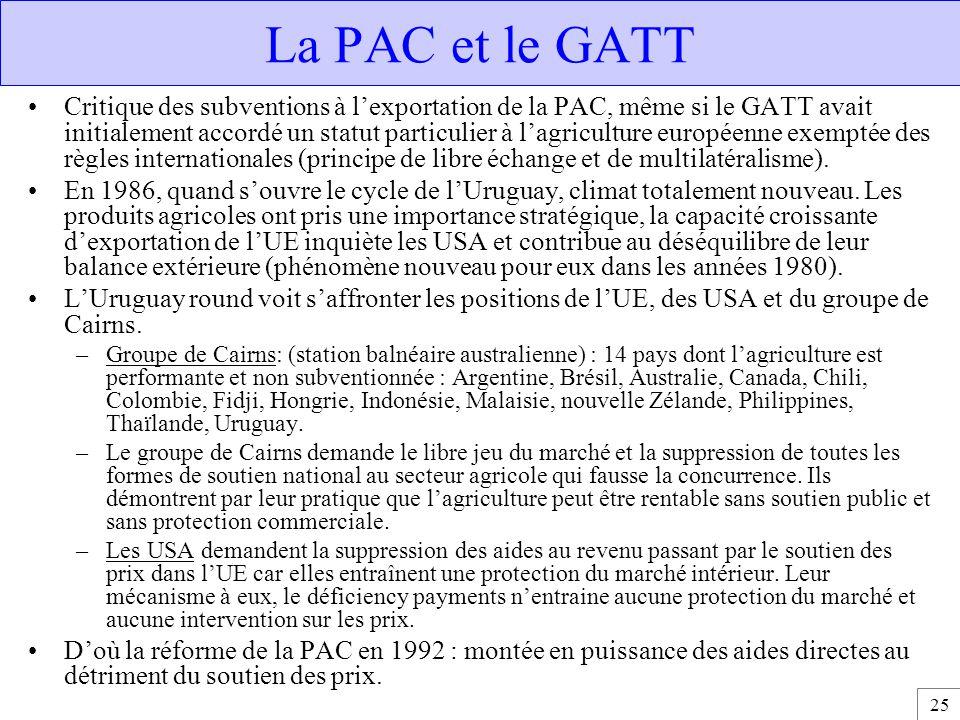 25 La PAC et le GATT Critique des subventions à l'exportation de la PAC, même si le GATT avait initialement accordé un statut particulier à l'agricult