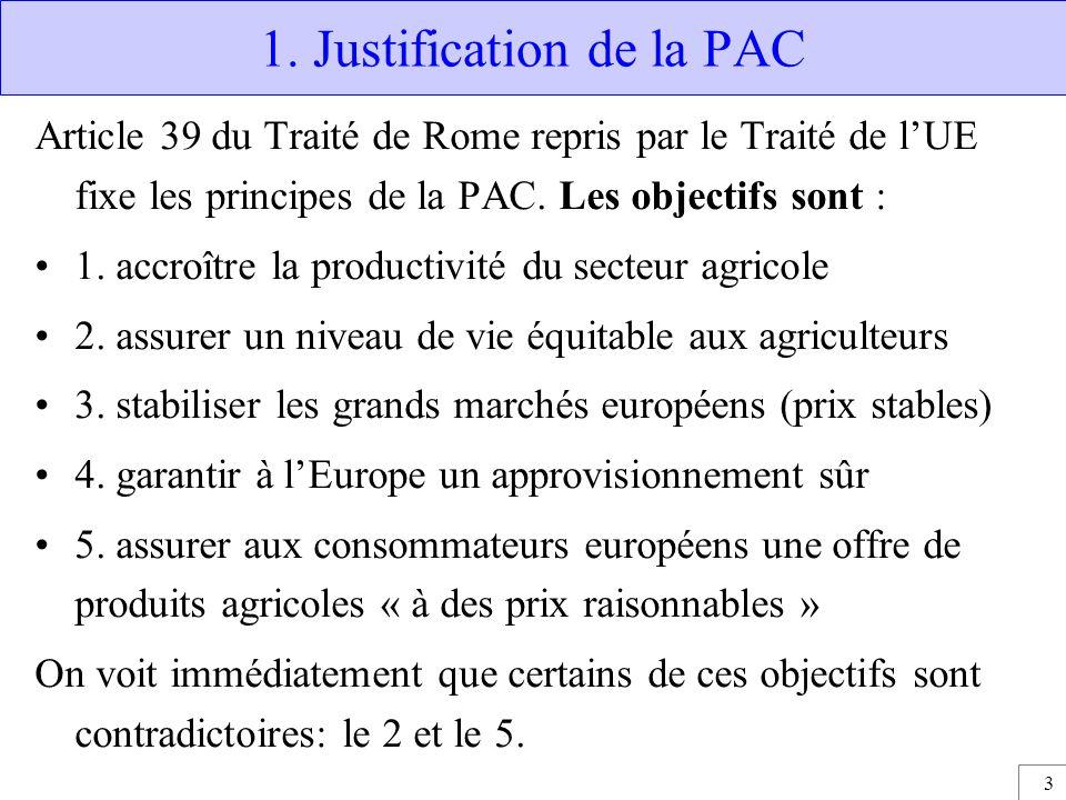 3 1. Justification de la PAC Article 39 du Traité de Rome repris par le Traité de l'UE fixe les principes de la PAC. Les objectifs sont : 1. accroître