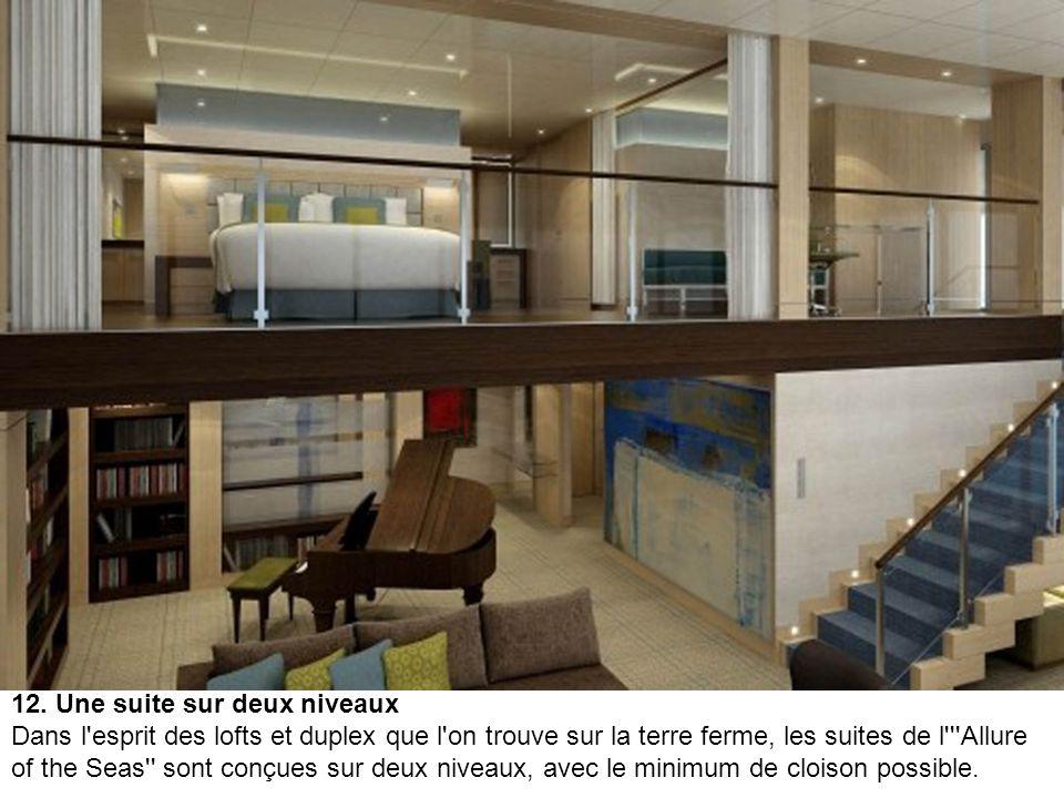 11. La suite Royal Loft Les suites Royal Loft sont parmi les plus grandes du paquebot. Ce ne sont pas moins de 51 m² qui s'offrent aux passagers afin