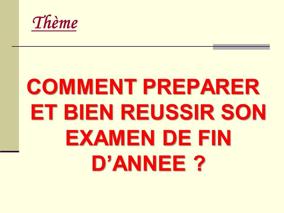 Thème COMMENT PREPARER ET BIEN REUSSIR SON EXAMEN DE FIN D'ANNEE ?