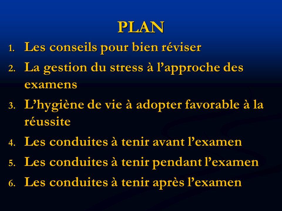 PLAN 1. Les conseils pour bien réviser 2. La gestion du stress à l'approche des examens 3. L'hygiène de vie à adopter favorable à la réussite 4. Les c