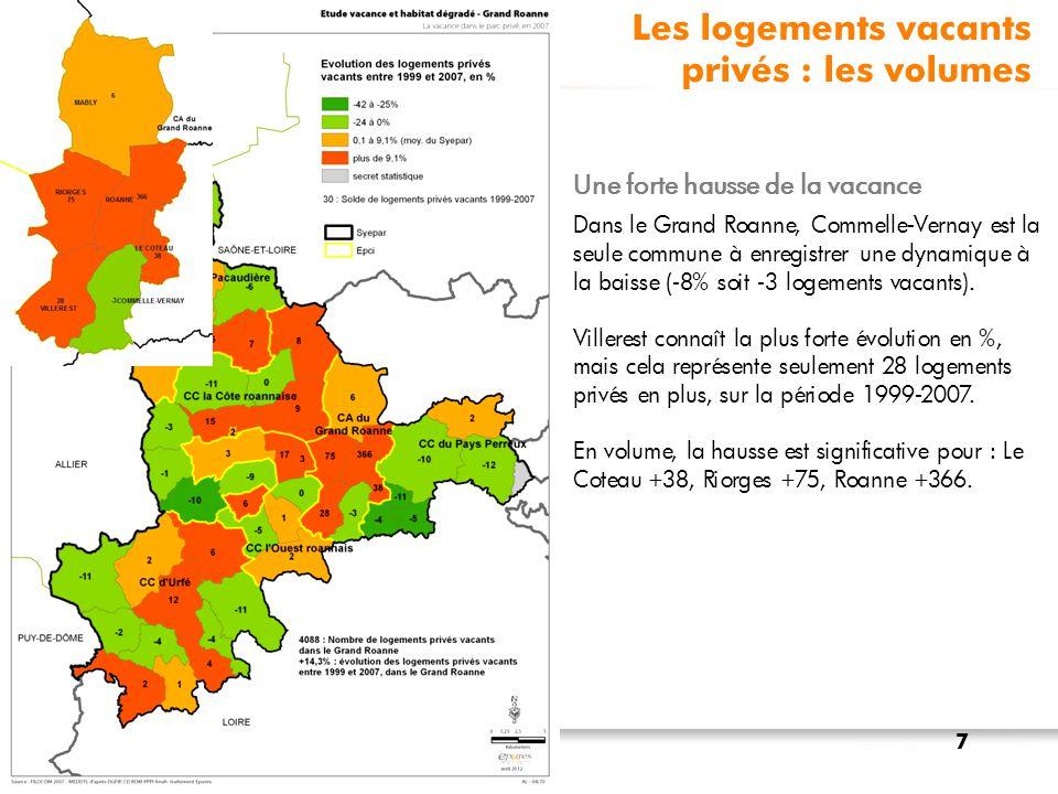 Les logements vacants selon DGI 2012 3 secteurs fortement touchés sur Roanne : 1 531 logements vacants (en rouge foncé) 5 secteurs touchés dont : 4 sur Roanne : 1 080 logements vacants 1 sur Le Coteau : 198 logements Source : Fichiers des locaux vacants1767bis EPCI, DGI 2012.