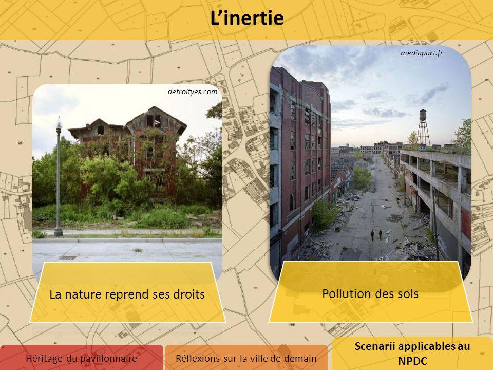 Scenarii applicables au NPDC 1.Inertie 2.Abandon 3.Adaptation Héritage du pavillonnaireRéflexions sur la ville de demain L'inertie detroityes.com medi