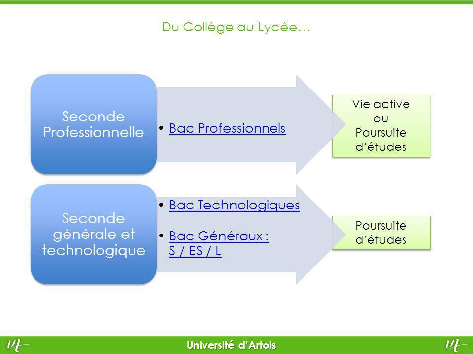 Poursuite d'études Vie active ou Poursuite d'études Vie active ou Poursuite d'études Université d'Artois Du Collège au Lycée… Bac Professionnels Secon