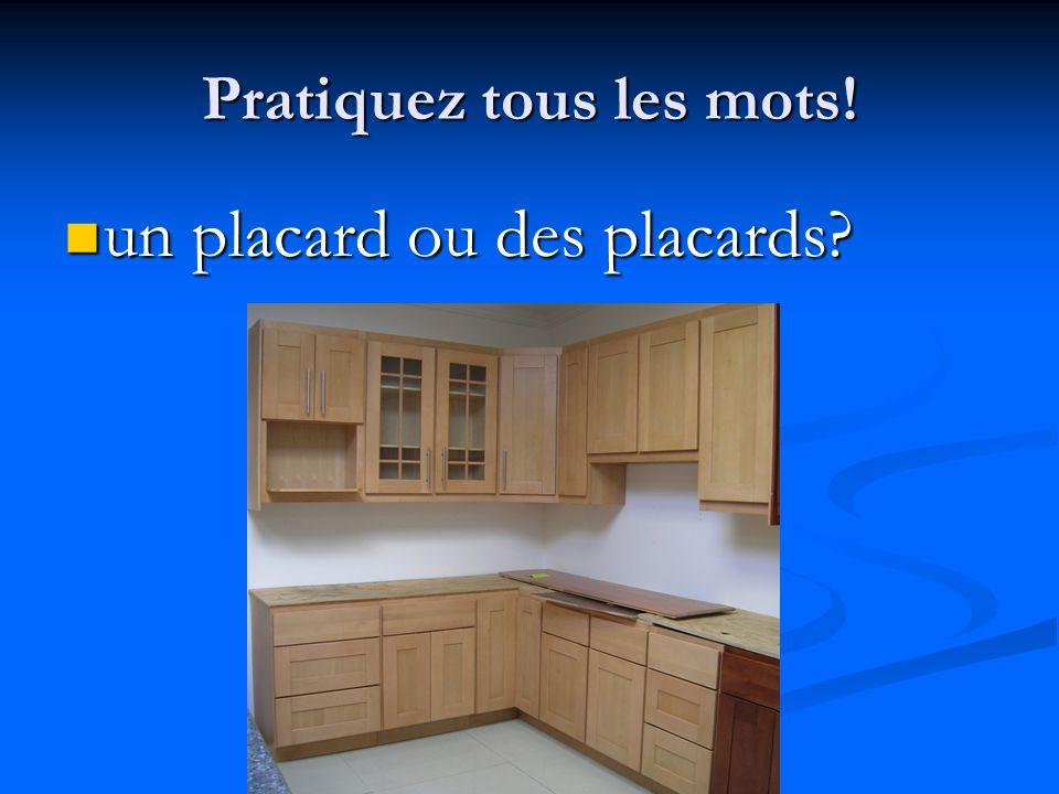 Pratiquez tous les mots! un placard ou des placards? un placard ou des placards?