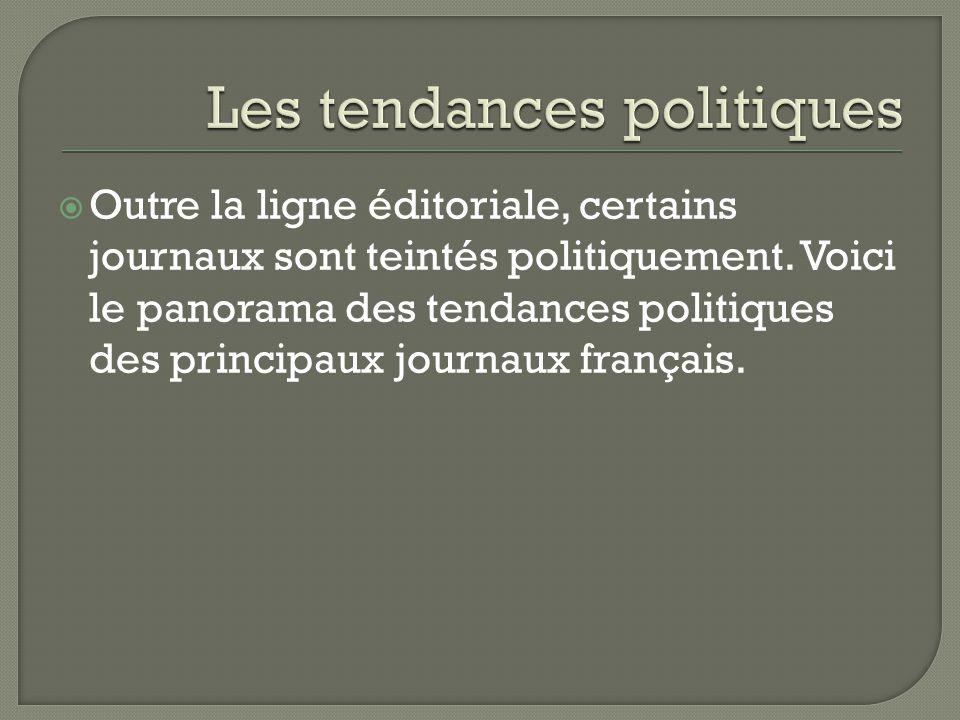  Outre la ligne éditoriale, certains journaux sont teintés politiquement. Voici le panorama des tendances politiques des principaux journaux français
