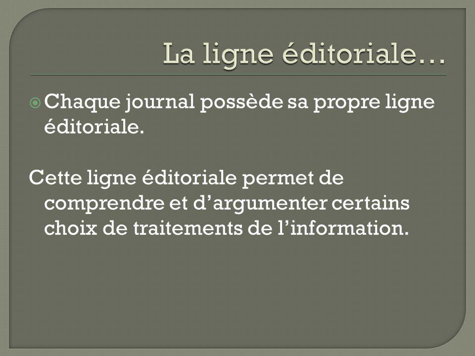  Chaque journal possède sa propre ligne éditoriale. Cette ligne éditoriale permet de comprendre et d'argumenter certains choix de traitements de l'in