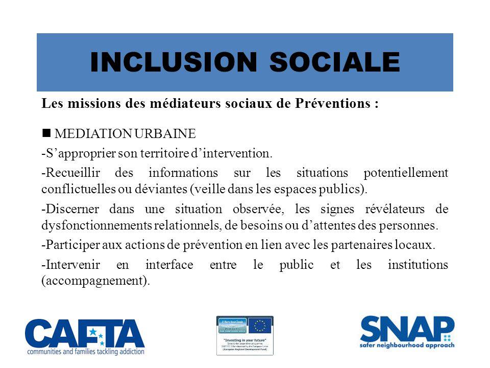 INCLUSION SOCIALE Les missions des médiateurs sociaux de Préventions : MEDIATION URBAINE -S'approprier son territoire d'intervention.