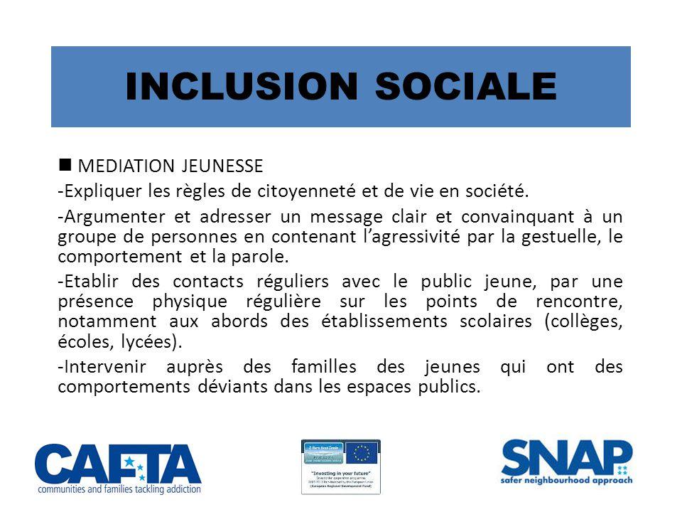 INCLUSION SOCIALE MEDIATION JEUNESSE -Expliquer les règles de citoyenneté et de vie en société.